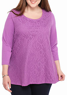 Kim Rogers Plus Size Lace Swing Splice Knit Top
