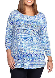 Kim Rogers Plus Size Three-quarter Sleeve Animal Print Swing Top