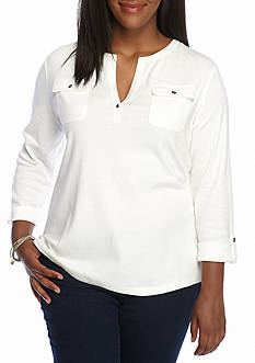 Kim Rogers Two Pocket Henley Solid Top