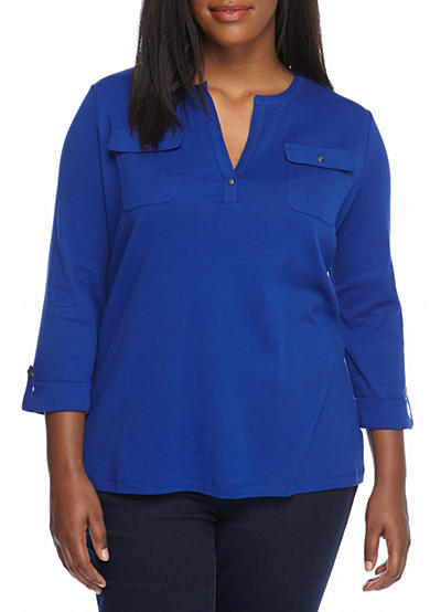 Kim Rogers® Two Pocket Henley Solid Top