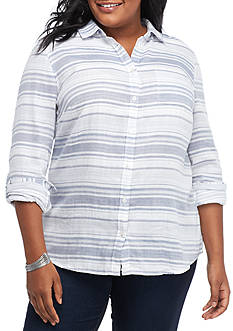Kim Rogers Plus Size Rolled Sleeve Duo Fold Woven Top