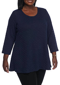 Kim Rogers Plus Size 3/4 Swing Neck Detailed Tunic