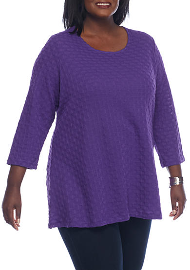 Kim Rogers® Plus Size 3/4 Swing Neck Detailed Tunic