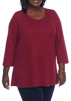 Kim Rogers Plus Size 3/4 Swing Neck Detailed Tunic