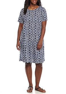 Kim Rogers Plus Size Short Sleeve Print Swing Dress