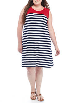 Kim Rogers® Sleeveless Striped Swing Dress