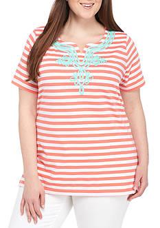 Kim Rogers Plus Size Short-Sleeve Split Neck Stripe Top