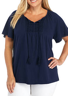 Kim Rogers Plus Size Solid Bib Front Peasant Top
