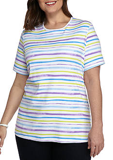 Kim Rogers Plus Size Crew Neck Wave Stripe Top