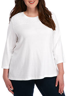 Kim Rogers Plus Size 3/4 Sleeve Yoke Lace Knit Top