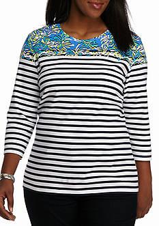 Kim Rogers Plus Size Three Quarter Sleeve Crew Stripe Mums