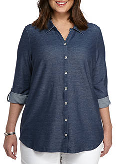 Kim Rogers Plus Size Chambray Button Up Top