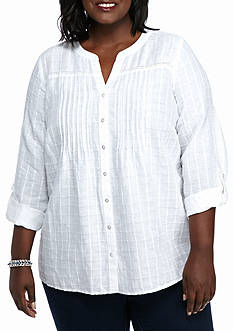Kim Rogers Plus Size Release Pleat Linen Top