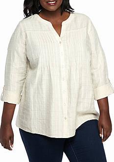 Kim Rogers Plus Size Release Pleat Linen Top