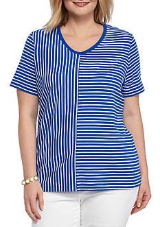 Kim Rogers Plus Size V Neck Splice Stripe Knit Top