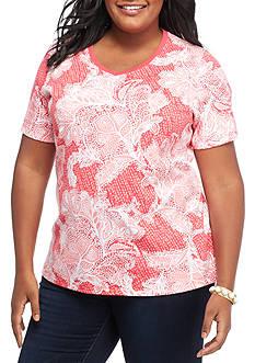 Kim Rogers Plus Size Short Sleeve V Neck Botanical Top