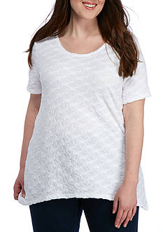 Kim Rogers Plus Size Textured Baby Bite Knit Top