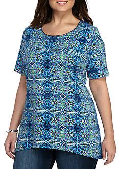 Kim Rogers Plus Size Short Sleeve Scoop Medallion Knit Top