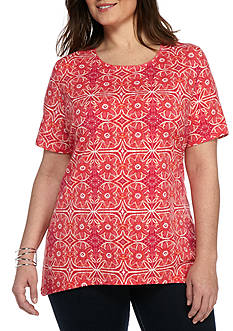 Kim Rogers Plus Size Short Sleeve Scoop Medallion Knit Top
