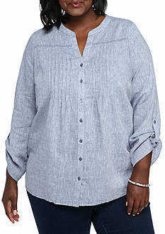 Kim Rogers Plus Size Linen Pleated Woven Top