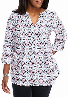 Kim Rogers Plus Size Linen Button Down Print Top