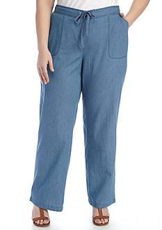 Kim Rogers Plus Size Chambray Pant