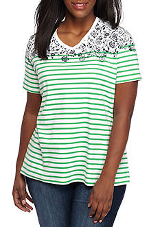 Kim Rogers Plus Size Interlock Prairie Short Sleeve Shirt