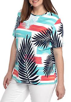 Kim Rogers Plus Size Short Sleeve Crewneck Palm Tee