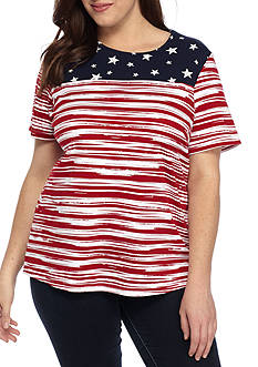Kim Rogers Plus Size Short Sleeve Stars and Stripes Top