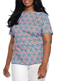 Kim Rogers Plus Size Printed Interlock Knit Top