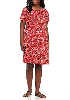 Kim Rogers Plus Size Short Sleeve Paisley Print Dress