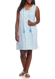 Kim Rogers Plus Size Sleeveless Keyhole Tie Neckline Dress