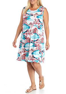 Kim Rogers Plus Size Sleeveless Scenic Swing Dress