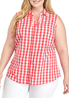 Kim Rogers Plus Size Sleeveless Button Front Gingham Shirt