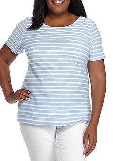 Kim Rogers Plus Size Short Sleeve Textured Knit Tee