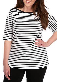 Kim Rogers Plus Size Elbow Quinn Stripe Top