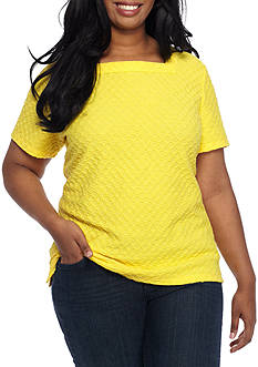 Kim Rogers Plus Size Short Sleeve Square Neck Textured Tee