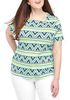 Kim Rogers Plus Short Sleeve Square Chevron Top