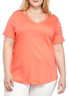 Kim Rogers Plus Size Short Sleeve Peekaboo V Neck Tee