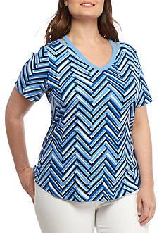 Kim Rogers Womens Plus Short Sleeve Chevron Top