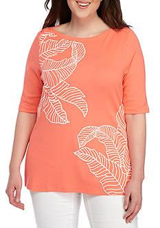 Kim Rogers Plus Size Printed Elbow Tee