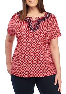 Kim Rogers Plus Size Printed Short Sleeve Split Neck Top