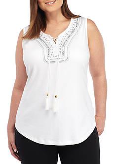 Kim Rogers Plus Size Split Neck Tassel Tie Tank