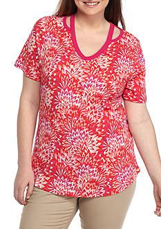 Kim Rogers Womens Plus Size Peekaboo Short Sleeve Top