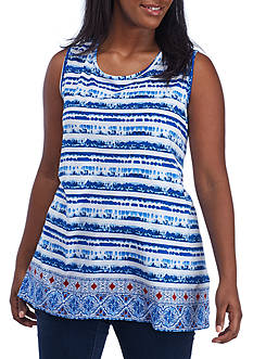 Kim Rogers® Plus Size Sleeveless Bordered Dye Tank