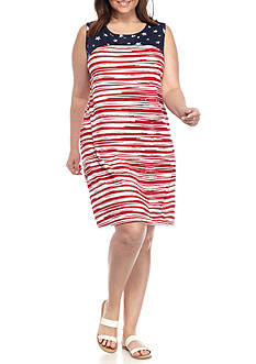 Kim Rogers Plus Size Sleeveless Americana Swing Dress
