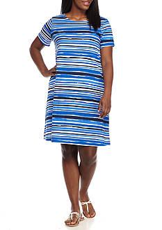 Kim Rogers Plus Size Short Sleeve Swing Stripe Dress