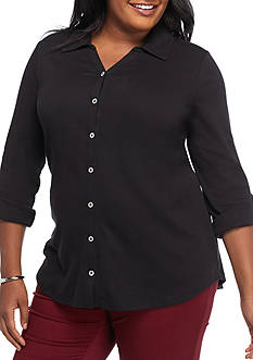Kim Rogers Plus Size Pullover Rolled Sleeve Button Front Solid Top