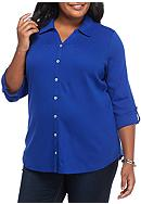 Kim Rogers® Plus Size Pullover Rolled Sleeve