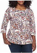 Kim Rogers® Plus Size 3/4 Sleeve Square Neck